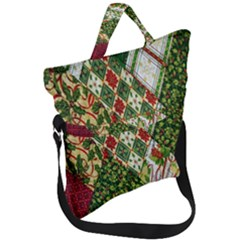 Christmas Quilt Background Fold Over Handle Tote Bag by Wegoenart