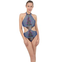 Christmas  Snow Halter Side Cut Swimsuit by Wegoenart