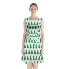 Christmas Background Christmas Tree Sleeveless Waist Tie Chiffon Dress