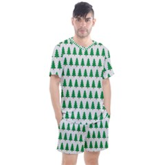 Christmas Background Christmas Tree Men s Mesh Tee And Shorts Set