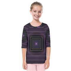 Fractal Square Modern Purple Kids  Quarter Sleeve Raglan Tee