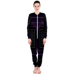Fractal Square Modern Purple Onepiece Jumpsuit (ladies)
