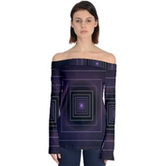 Fractal Square Modern Purple Off Shoulder Long Sleeve Top