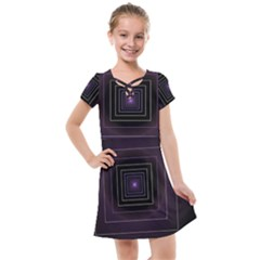 Fractal Square Modern Purple Kids  Cross Web Dress