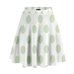 Green Dots Modern Pattern Paper High Waist Skirt