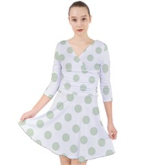 Green Dots Modern Pattern Paper Quarter Sleeve Front Wrap Dress