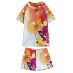 Paint Splash Paint Splatter Design Kids  Swim Tee And Shorts Set