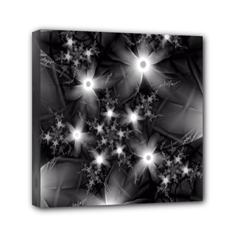 Black And White Floral Fractal Mini Canvas 6  X 6  (stretched)