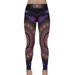 Fractal Neon Blue Energy Fantasy Classic Yoga Leggings