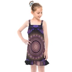 Fractal Neon Blue Energy Fantasy Kids  Overall Dress