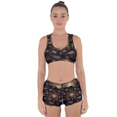 Fractal Flower Floral Bloom Brown Racerback Boyleg Bikini Set