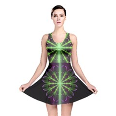 Fractal Purple Lime Pattern Reversible Skater Dress
