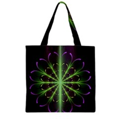 Fractal Purple Lime Pattern Zipper Grocery Tote Bag