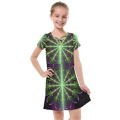 Fractal Purple Lime Pattern Kids  Cross Web Dress