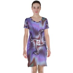 Fractal Rainbow Colorful Pattern Short Sleeve Nightdress