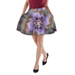 Fractal Rainbow Colorful Pattern A Line Pocket Skirt