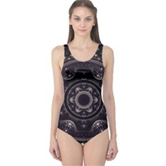 Fractal Mandala Circles Purple One Piece Swimsuit