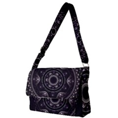 Fractal Mandala Circles Purple Full Print Messenger Bag