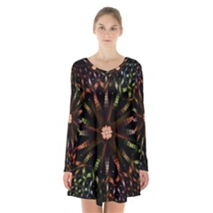 Fractal Colorful Pattern Texture Long Sleeve Velvet V Neck Dress