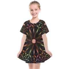 Fractal Colorful Pattern Texture Kids  Smock Dress