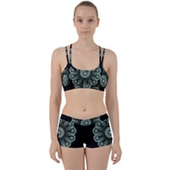 Fractal Green Lace Pattern Circle Perfect Fit Gym Set
