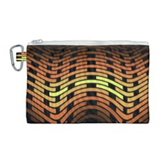 Fractal Orange Texture Waves Canvas Cosmetic Bag (large)