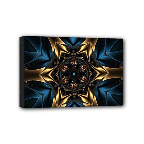 Pattern Texture Copper Teal Design Mini Canvas 6  X 4  (stretched)
