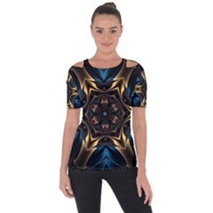 Pattern Texture Copper Teal Design Shoulder Cut Out Short Sleeve Top
