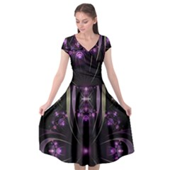 Fractal Purple Elements Violet Cap Sleeve Wrap Front Dress