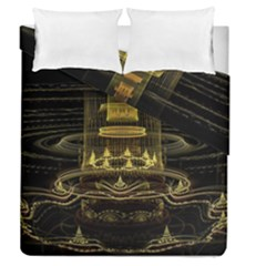 Fractal City Geometry Lights Night Duvet Cover Double Side (queen Size)