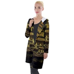 Fractal City Geometry Lights Night Hooded Pocket Cardigan