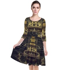 Fractal City Geometry Lights Night Quarter Sleeve Waist Band Dress