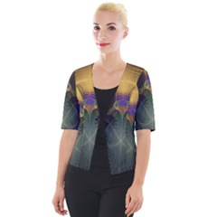 Fractal Colorful Pattern Design Cropped Button Cardigan
