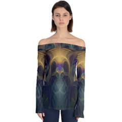 Fractal Colorful Pattern Design Off Shoulder Long Sleeve Top