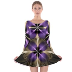 Fractal Glow Flowing Fantasy Long Sleeve Skater Dress by Wegoenart