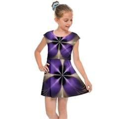 Fractal Glow Flowing Fantasy Kids Cap Sleeve Dress by Wegoenart