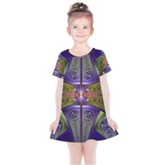 Fractal Blue Tin Pattern Texture Kids  Simple Cotton Dress
