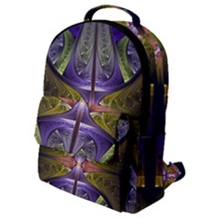 Fractal Blue Tin Pattern Texture Flap Pocket Backpack (small)