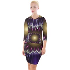 Fractal Rays Geometry Space Glow Quarter Sleeve Hood Bodycon Dress by Wegoenart
