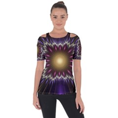 Fractal Rays Geometry Space Glow Shoulder Cut Out Short Sleeve Top