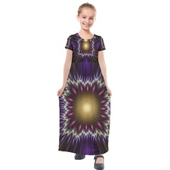 Fractal Rays Geometry Space Glow Kids  Short Sleeve Maxi Dress by Wegoenart