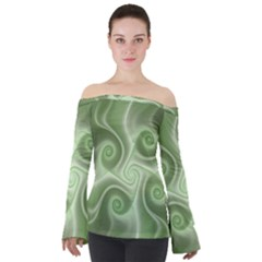 Fractal Green White St Patricks Day Off Shoulder Long Sleeve Top