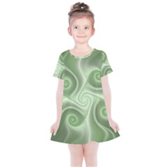 Fractal Green White St Patricks Day Kids  Simple Cotton Dress