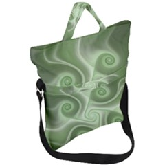 Fractal Green White St Patricks Day Fold Over Handle Tote Bag by Wegoenart
