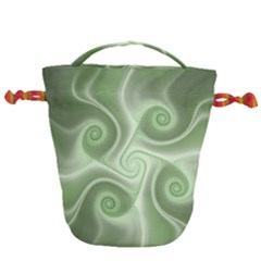 Fractal Green White St Patricks Day Drawstring Bucket Bag