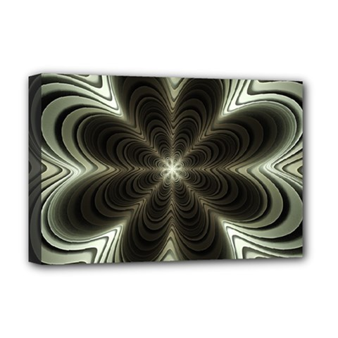 Fractal Silver Waves Texture Deluxe Canvas 18  X 12  (stretched)
