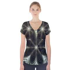 Fractal Silver Waves Texture Short Sleeve Front Detail Top