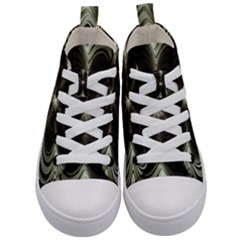 Fractal Silver Waves Texture Kid s Mid Top Canvas Sneakers