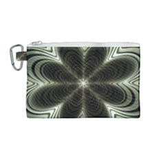 Fractal Silver Waves Texture Canvas Cosmetic Bag (medium) by Wegoenart