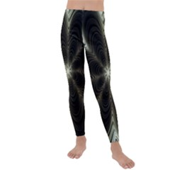 Fractal Silver Waves Texture Kids  Lightweight Velour Leggings by Wegoenart